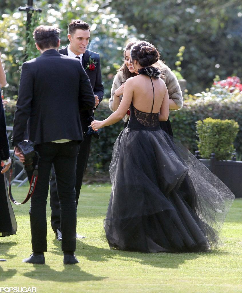 Shenae Grimes wore a black wedding dress.