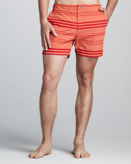 Theory Kosmor Striped Swim Trunks, Orange