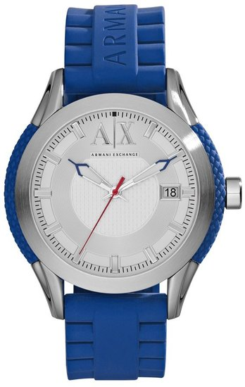 AX Armani Exchange Round Silicone Strap Watch, 47mm