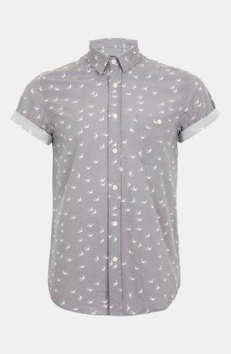 Topman 'High Roller' Swallow Print Shirt