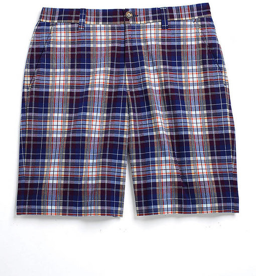 ALEX CANNON Plaid Flat Front Cotton Shorts