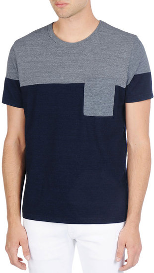 The S/S Color Block Pocket Tee - Faded Indigo