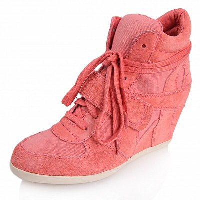 ASH BOWIE SUEDE WEDGE SNEAKERS ORANGE