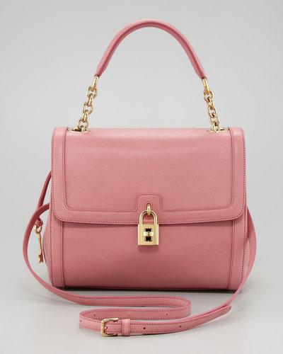 Dolce & Gabbana Miss Dolce Leather Satchel Bag, Pink