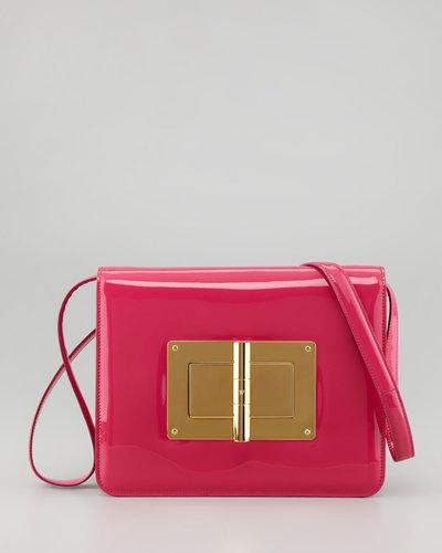 Tom Ford Natalia Large Turn-Lock Shoulder Bag, Hot Pink