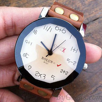Cute Digital Algorithm Dial Leather Watch