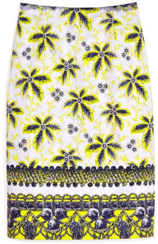 Prabal Gurung Acid Yellow Flower Damiana Skirt
