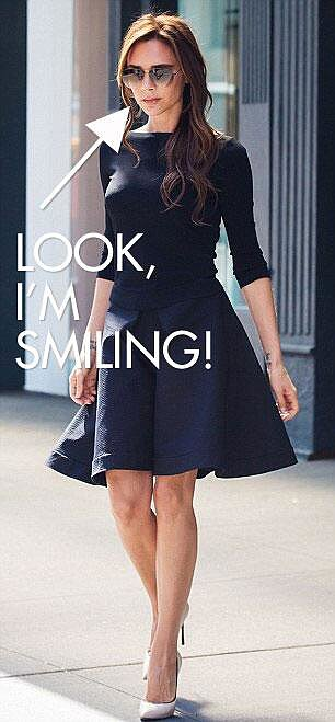 Victoria Beckham poked fun at herself  for smiling on her Twitter account. Source: Twitter user VictoriaBeckham