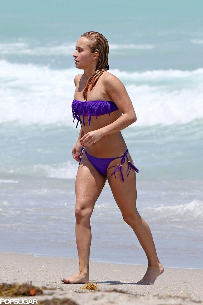 Hayden Panettiere hit the beach in a purple bikini.