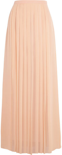 Tibi Pleated silk crepe de chine maxi skirt