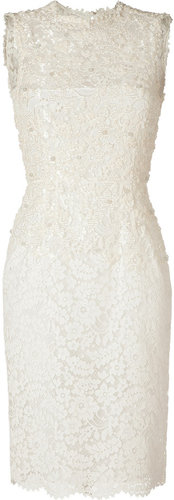 Valentino Beaded Ivory Cotton Lace Dress