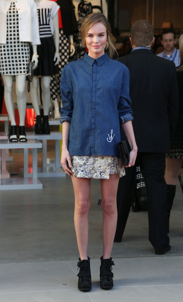 Kate doubled up on Topshop separates, pairing a chambray button-down with a jacquard mini and lace-up booties, for the brand's grand opening at The Grove in LA in February 2013.