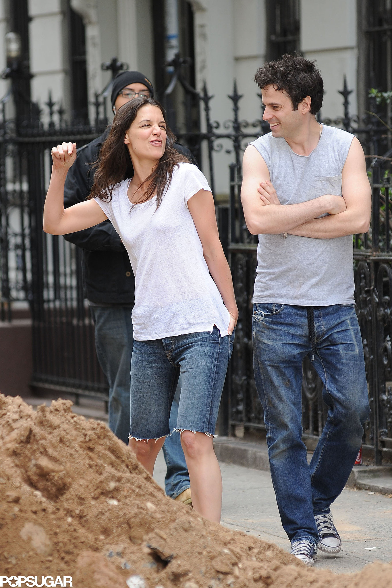 Katie Holmes got active on set with Luke Kirby.