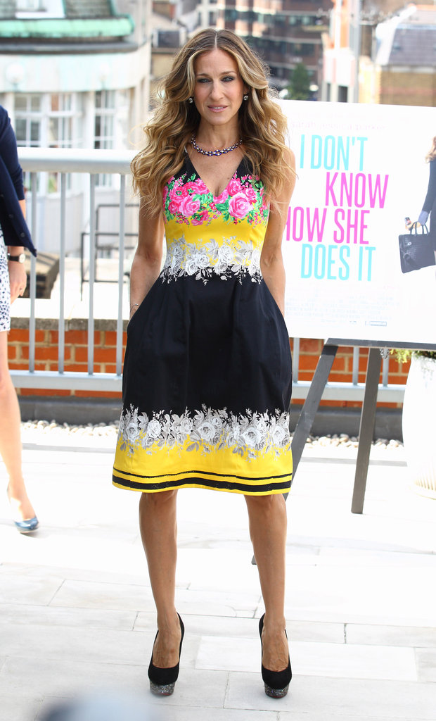Sarah Jessica Parker wowed in a Prabal Gurung dress — from the Resort 2012 collection — and black embellished heels by Charlotte Olympia during a London photocall in 2011.