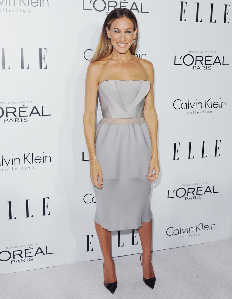 Parker donned a strapless structural Calvin Klein Collection number with sheer-bodice detail and gold trim for the 19th annual Elle Women in Hollywood Celebration in LA.