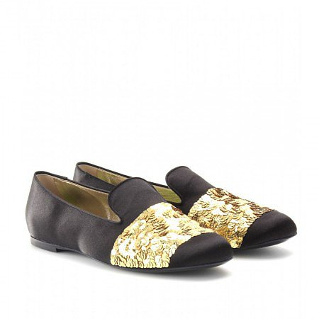 ROGER VIVIER BLACK SEQUIN EMBELLISHED SLIPPERSTYLE LOAFERS