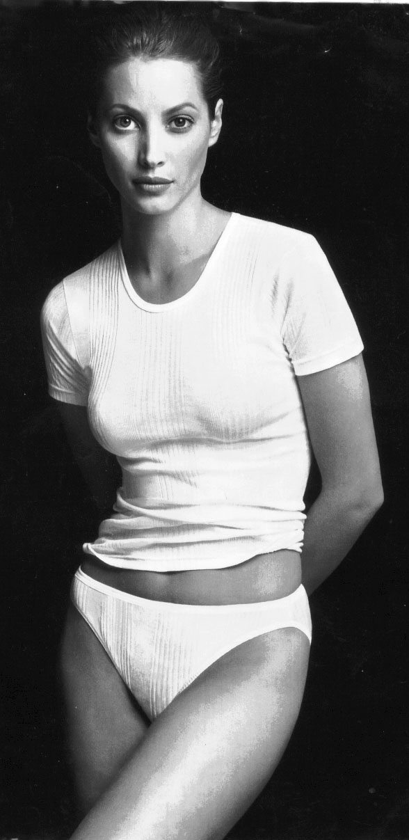 Christy Turlington Burns in the Calvin Klein Underwear Spring 1996 campaign, which marked her first time as the face of the campaign.