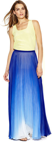 Ombre Chiffon Pleated Maxi Skirt