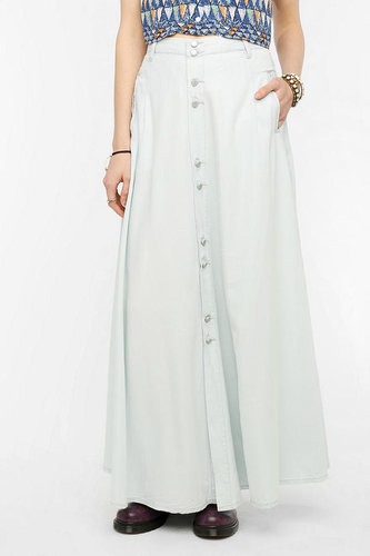 BLANKNYC Button-Front Chambray Maxi Skirt