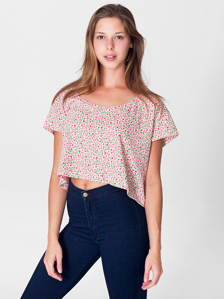 For a sweet-meets-sexy look, style this ditsy floral American Apparel Printed Loose Crop Tee ($22) with a pair of high-waisted jeans and wedges.