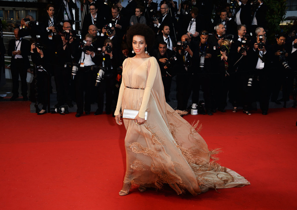 Solange Knowles wore a feathered gown at the Cannes Opening Ceremony on Wednesday