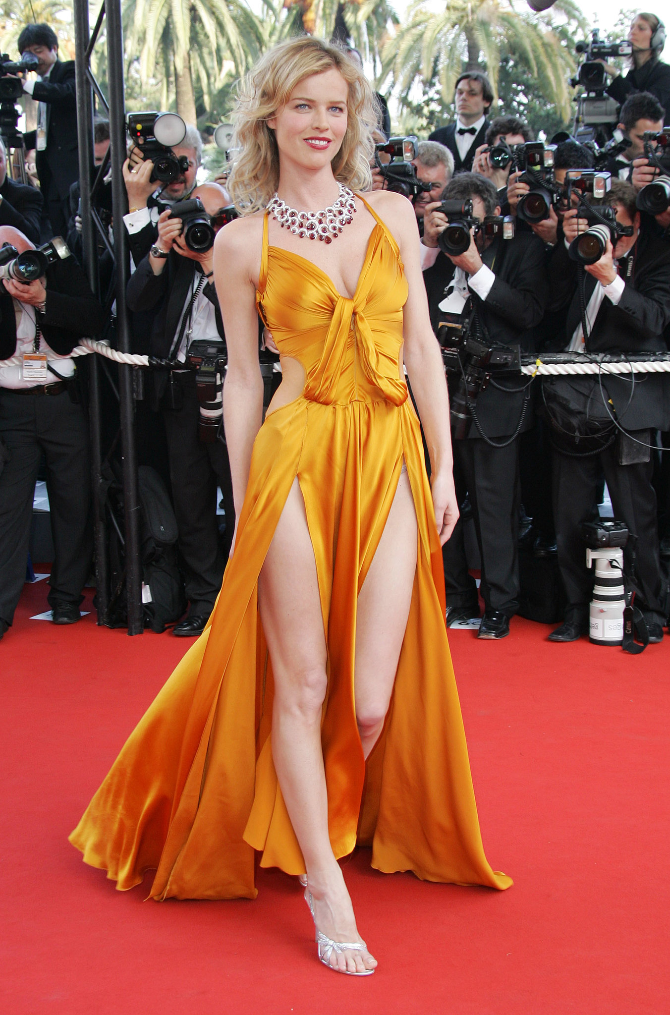 Eva Herzigova bared both legs in a dramatic dress from Anna Molinari at the 2006 Cannes premiere of The Da Vinci Code.