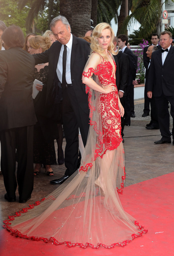 Rachel McAdams wore a sheer Marchesa gown for the 2011 Cannes premiere of Midnight in Paris.