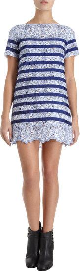 Sacai Luck Floral Lace Striped Dress