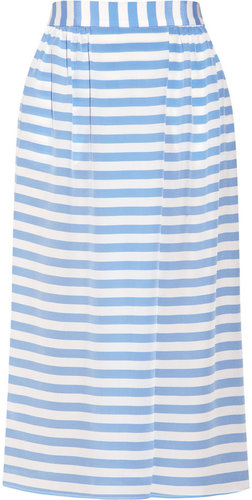 Tucker Striped silk crepe de chine skirt