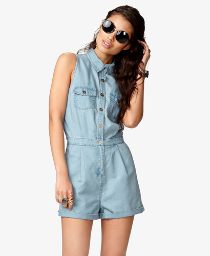 FOREVER 21 Chambray Romper w/ Slit Back