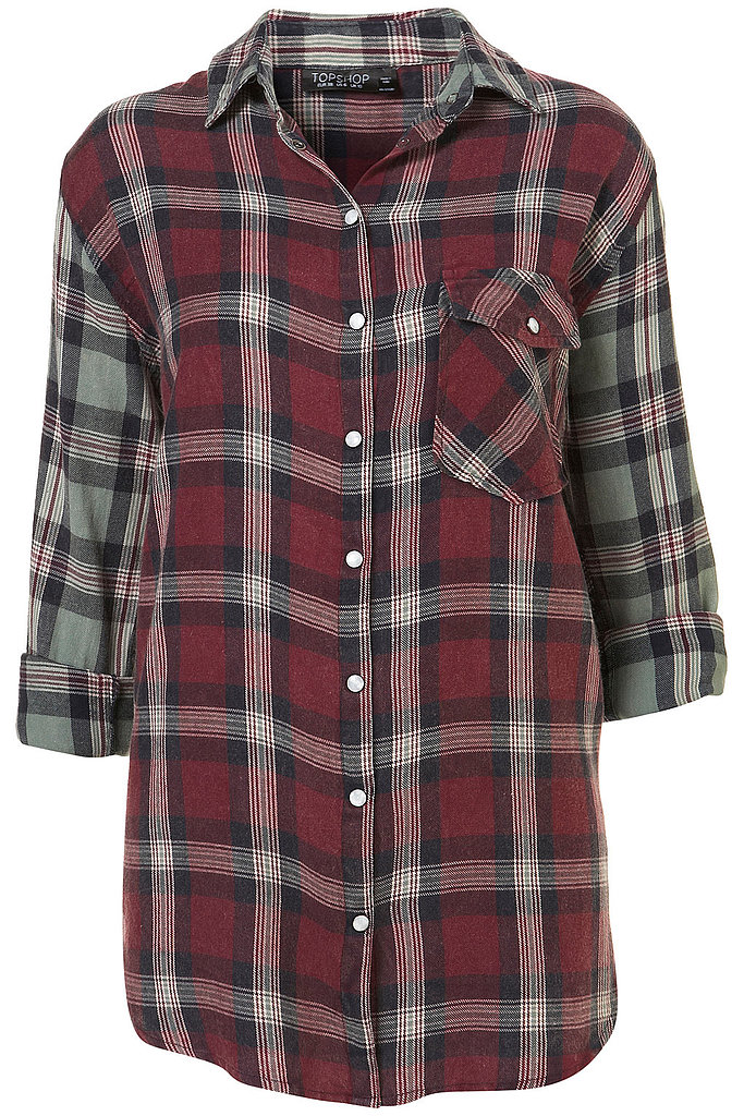 A two-toned plaid top for laid-back styling via the Topshop Festival Collection for Summer 2013, inspired by Kate Bosworth.