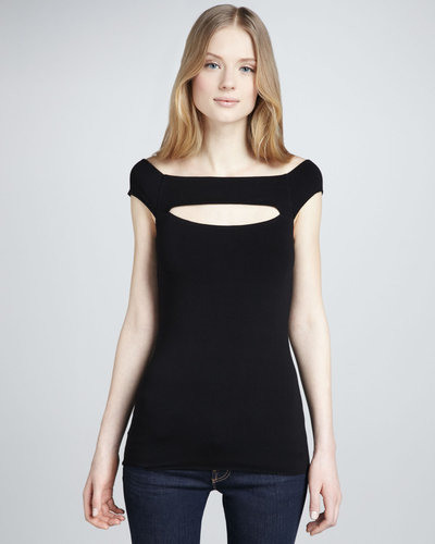 Bailey 44 Clam Shell Cutout Cap-Sleeve Top
