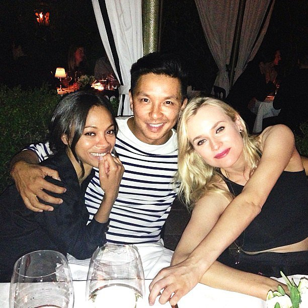Prabal Gurung posed with his good friends Zoe Saldana and Diane Kruger during his Vogue event in LA. Source: Instagram user prabalgurung