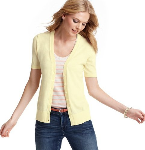Petite Pointelle Short Sleeve Cotton Cardigan