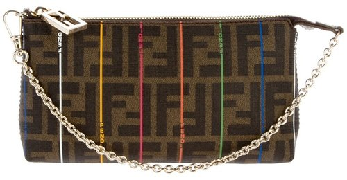 Fendi logo clutch