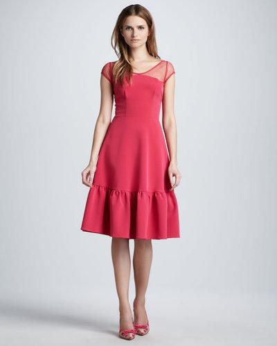 Nha Khanh Sheer-Top Ruffle-Hem Dress