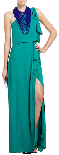 BCBGMAXAZRIA Kendal One-Shoulder Ruffled Evening Gown