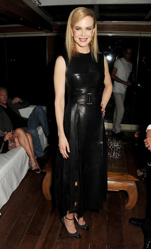 Nicole Kidman went for a leather look at the Calvin Klein party at Cannes on Thursday.