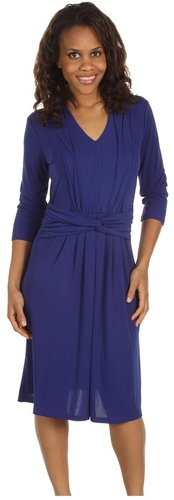 Jones New York - 3/4 Sleeve Fit and Flare Dress (Dark Cerulean) - Apparel