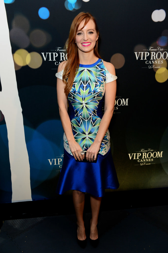 Ahna O'Reilly stepped out for the Belvedere Vodka festivities in a bright graphic-print Bibhu Mohapatra dress.