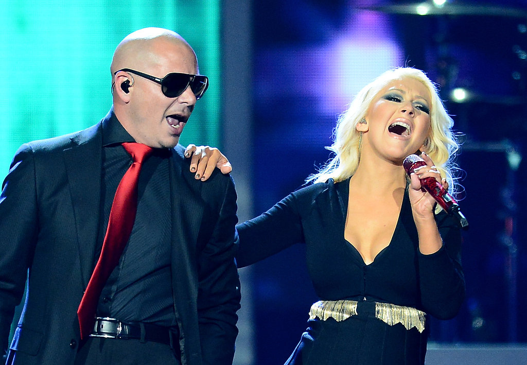 Christina Aguilera belted it out during her performance with Pitbull.