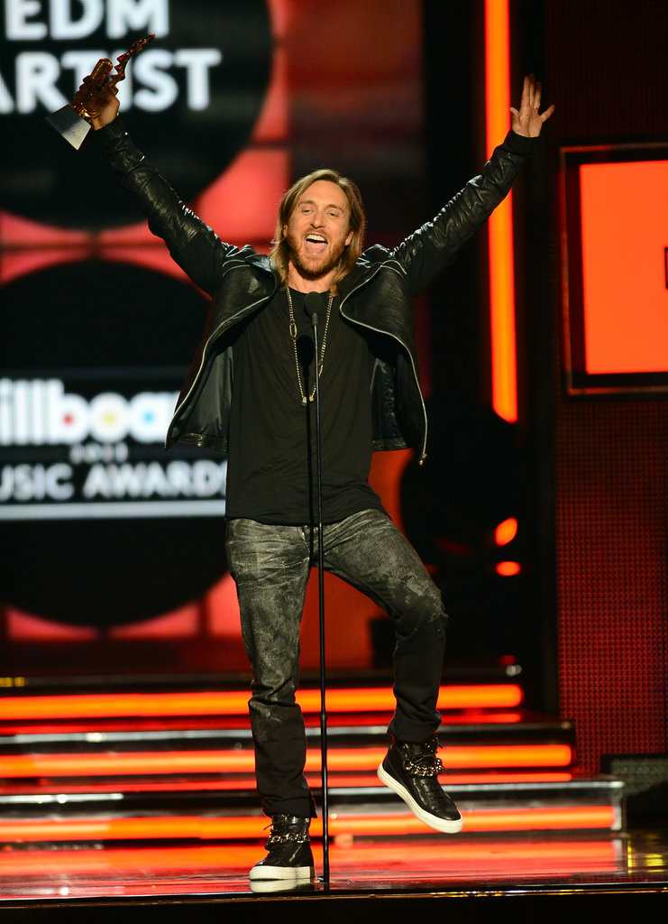 David Guetta celebrated onstage.