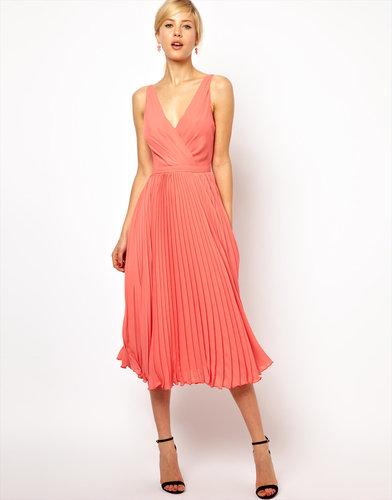 Mango Pleat And Wrap Midi Dress