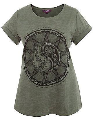Inspire Khaki Burnout Ying Yang T-Shirt