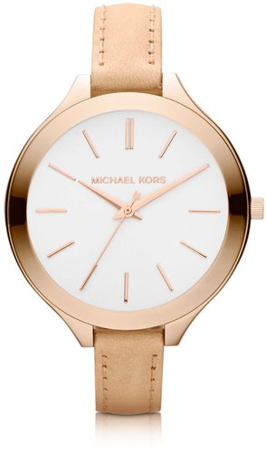 Michael Kors Runway Slim Rose Leather Strap Watch