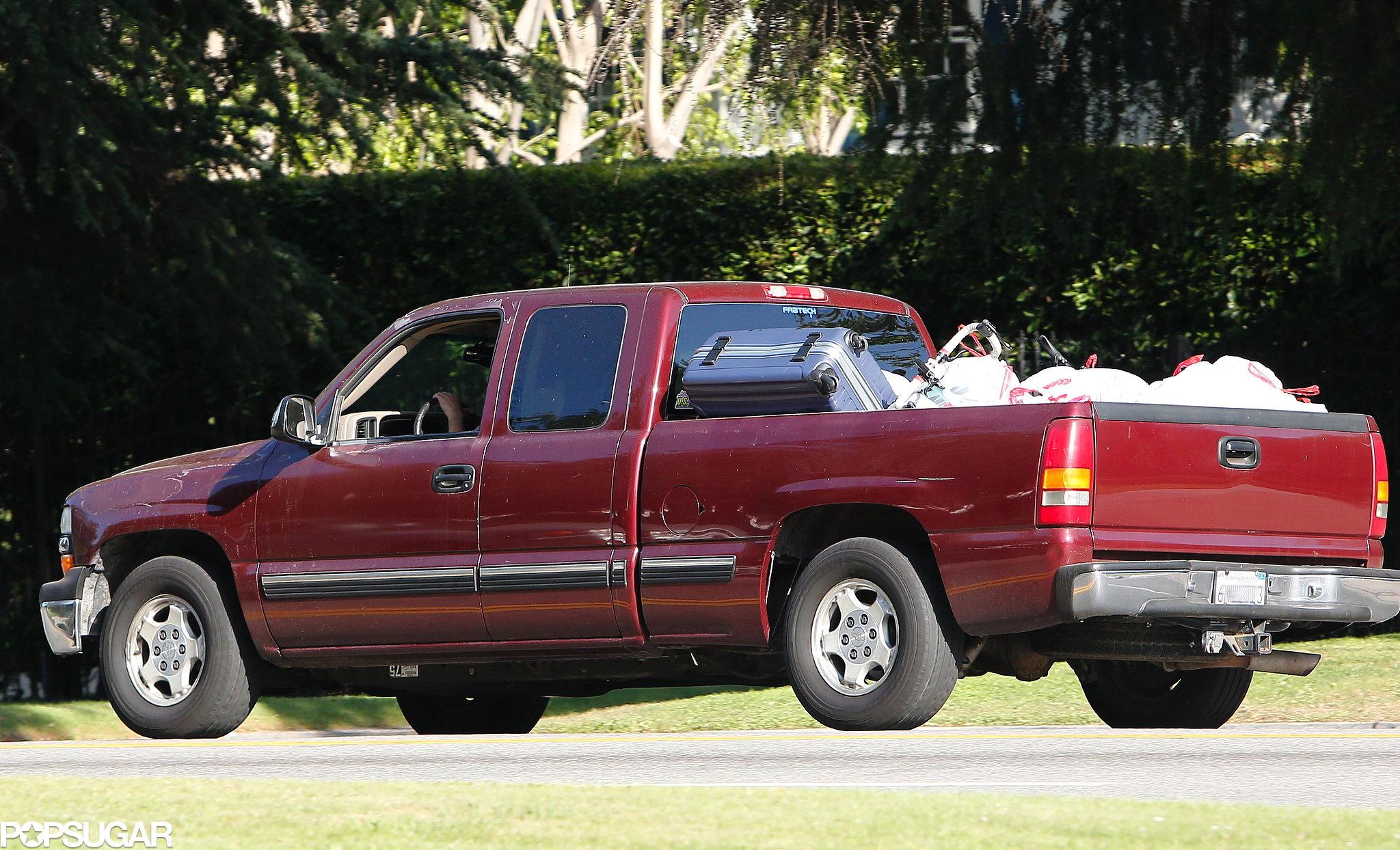Robert Pattinson's truck was full of trash bags.