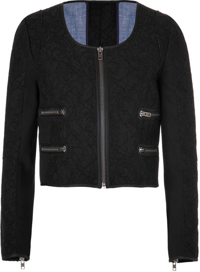 Victoria Beckham Denim Bonded Lace Cropped Jacket in Black/Midnight Blue