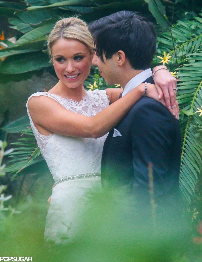 Katrina Bowden and Ben Jorgensen hugged on their wedding day.
