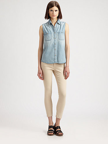 AG Adriano Goldschmied The Faye Sleeveless Chambray Shirt