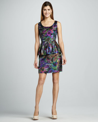 Cluny Floral Print Peplum Dress